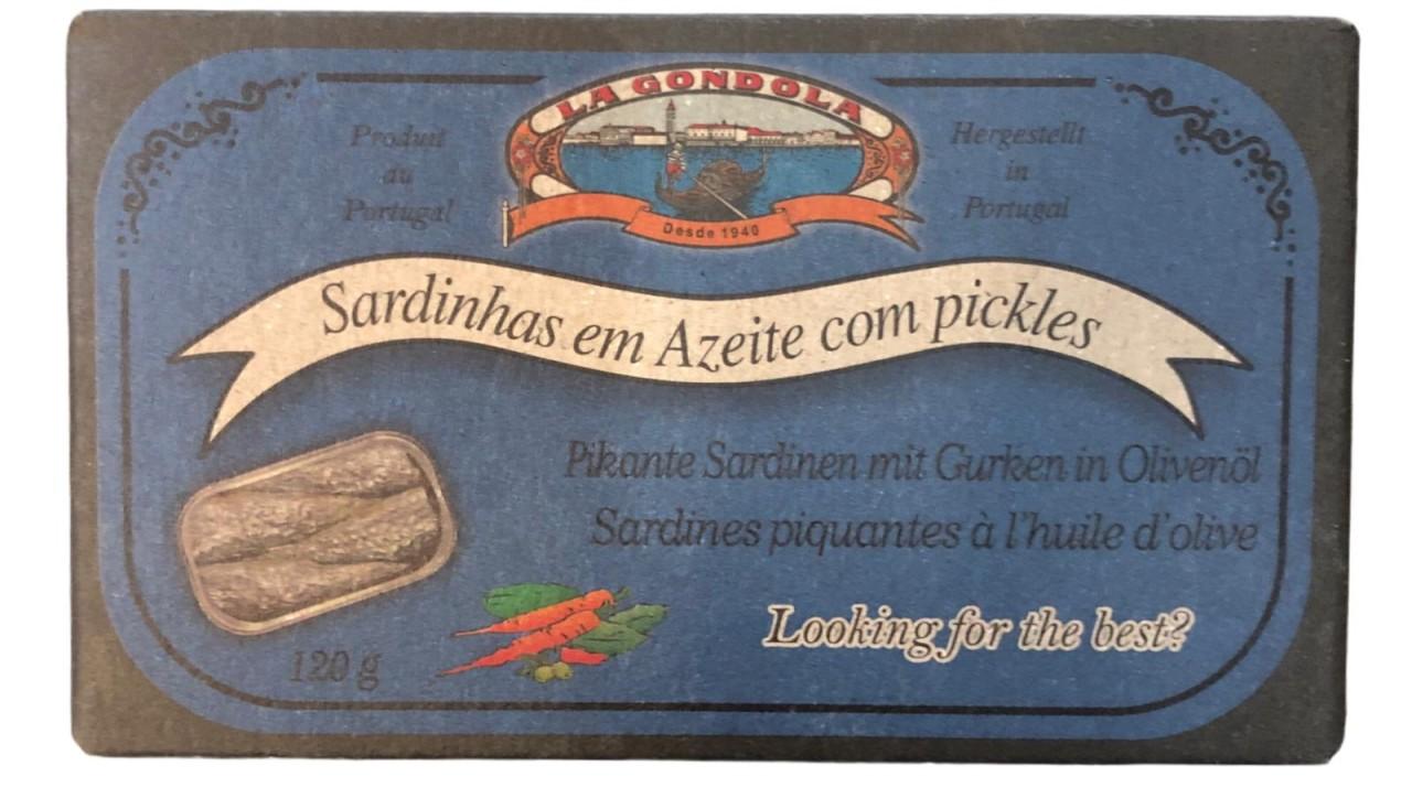 La Gondola Sardinhas em Azeite com pickles - Pikante Sardinen mit Gurken in Olivenöl 120g