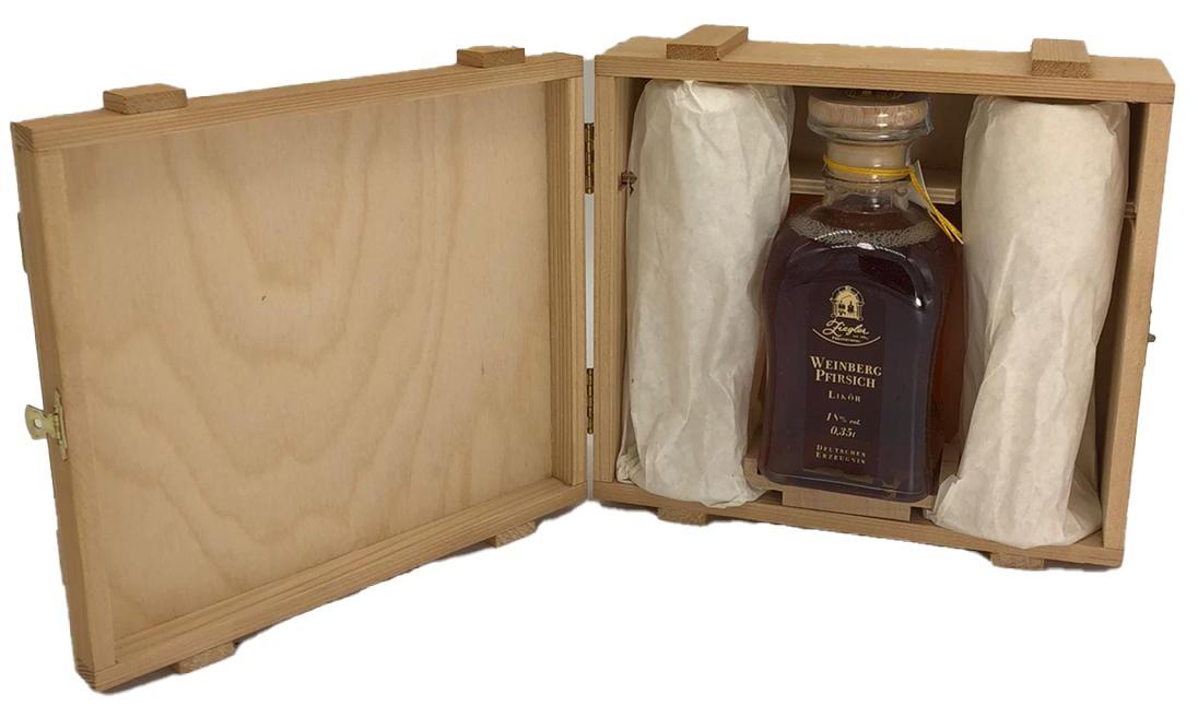 Ziegler Weinberg Pfirsich Likör (0,35 L in Holzbox + Gläser)