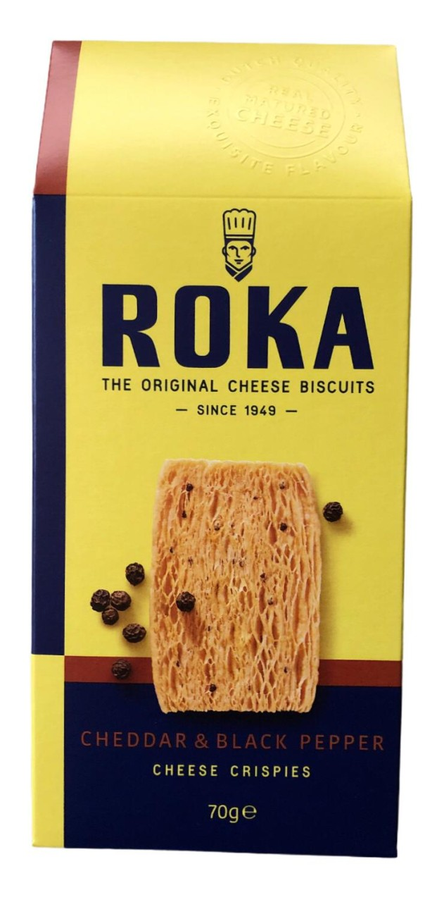 Roka Cheese Biscuits Cheddar & Black Pepper 70g