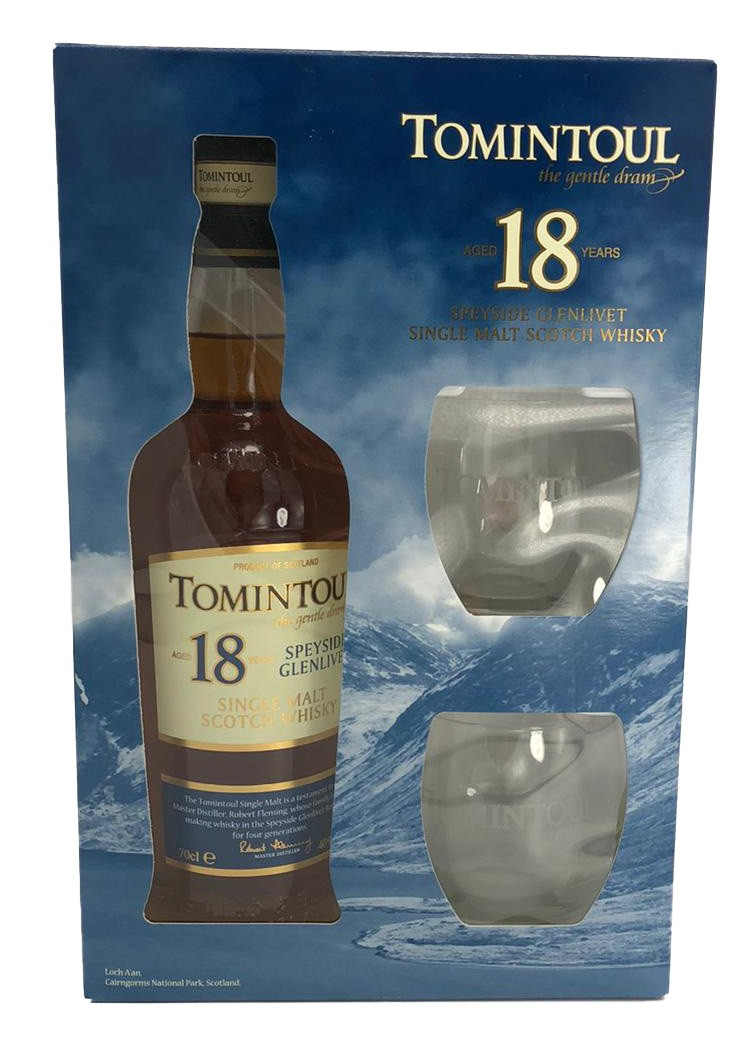Tomintoul 18 Years Old + 2 Gläser