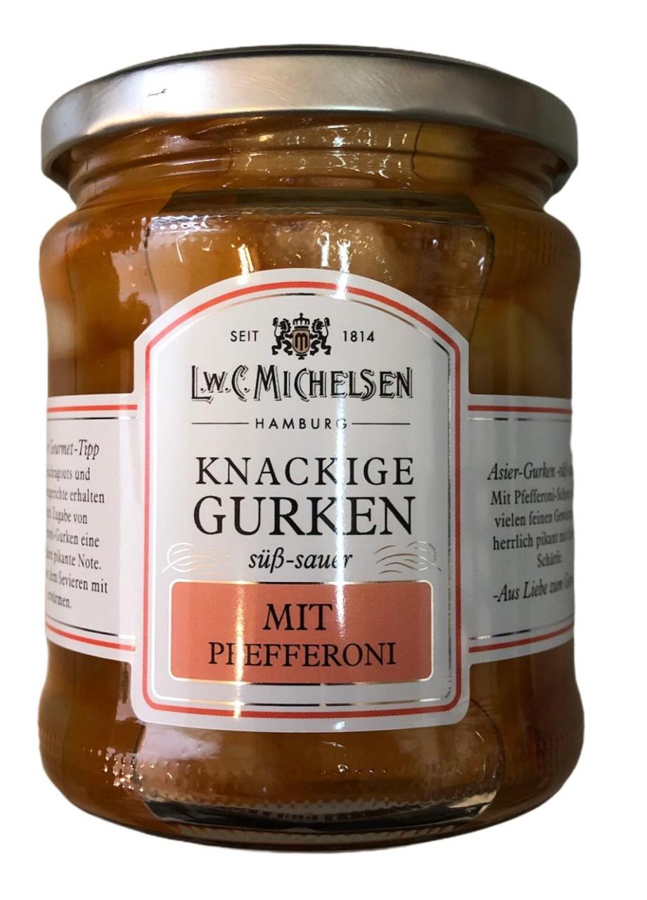 L.W.C. Michelsen Knackige Gurken mit Pfefferoni -süß sauer- 330g