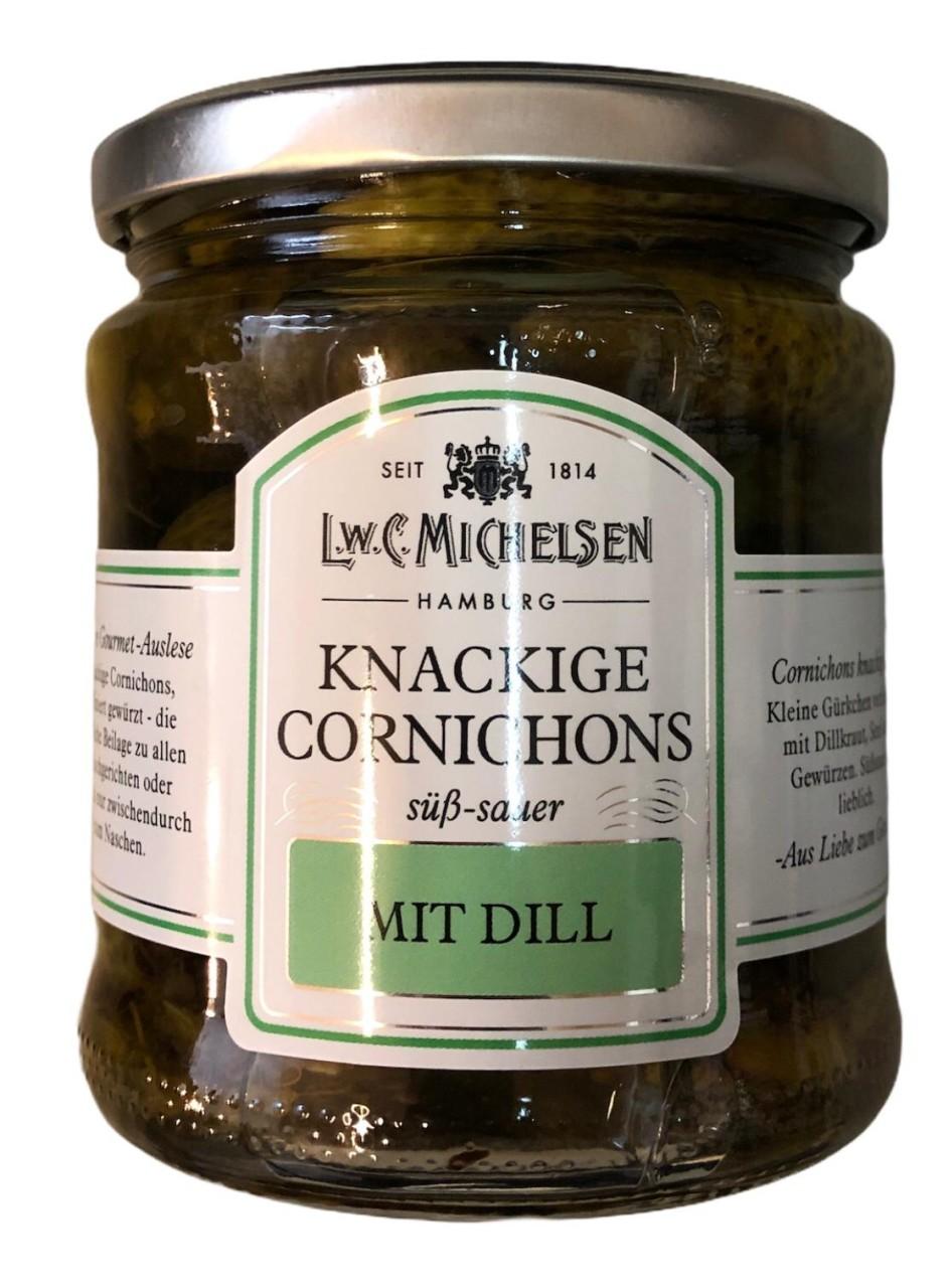 L.W.C. Michelsen Knackige Cornichons mit Dill -süß sauer- 330g