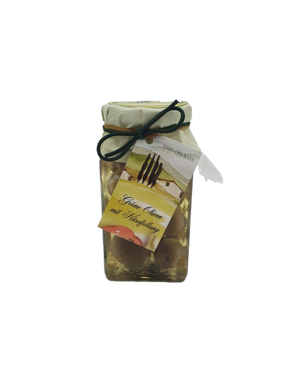 Grüne Oliven mit Käsefüllung 250g