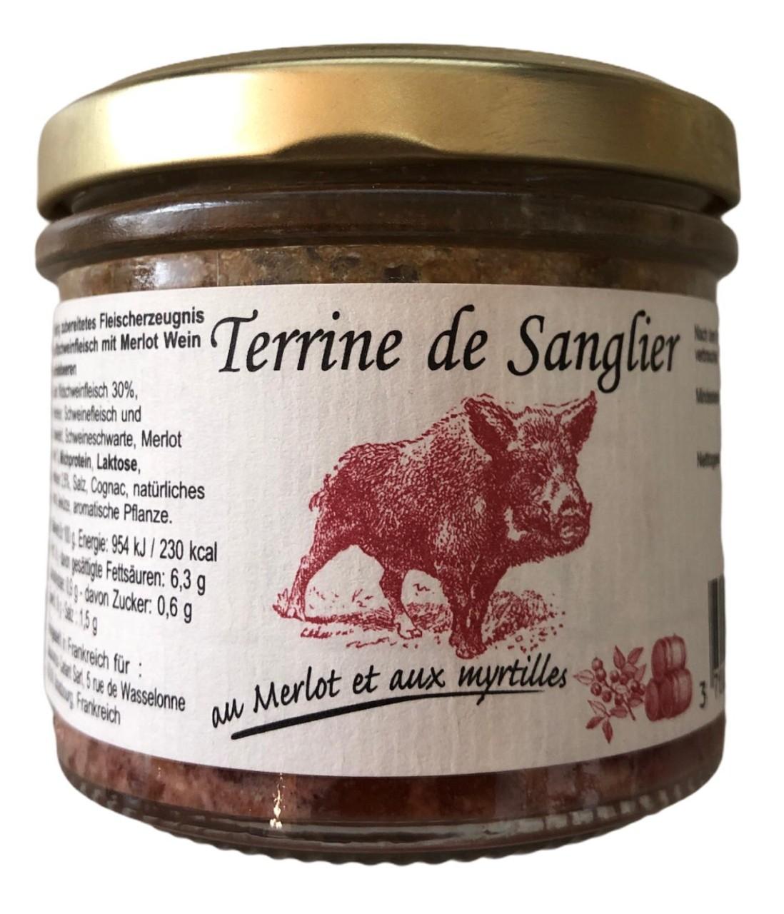 Terrine de Sanglier au Merlot et Aux myrtilles (Wildschweinfleisch mit Merlot Wein und Heidelbeeren)